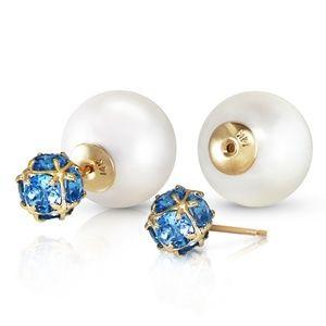 PEARLS AND BLUE TOPAZ STUD EARRINGS